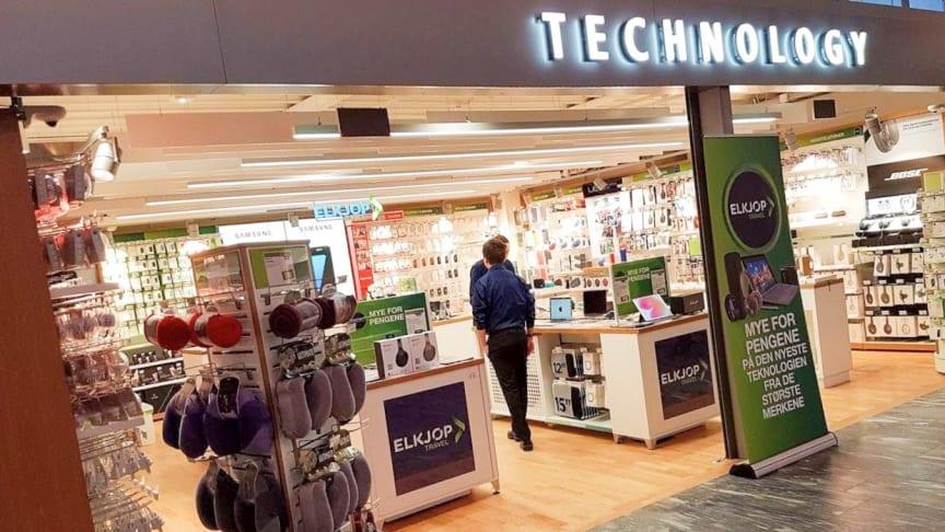 Elkjøp reduserer nå bemanningen med 70 prosent i sine butikker, Elkjøp Travel og Dixons Travel, på Gardermoen. Foto: Elkjøp Norge