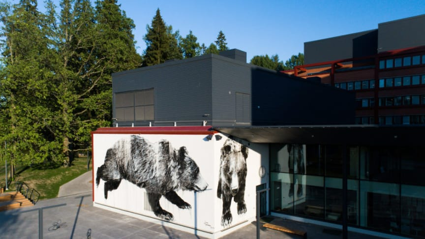 Jussi TwoSevenin karhuteos seikkailee Otaniemen lukion kahdella seinällä. Kuva Ilkka Vuorinen