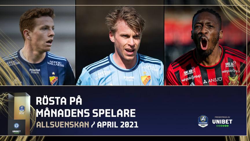 Här är de nominerade till säsongens första Månadens spelare och tränare i Allsvenskan