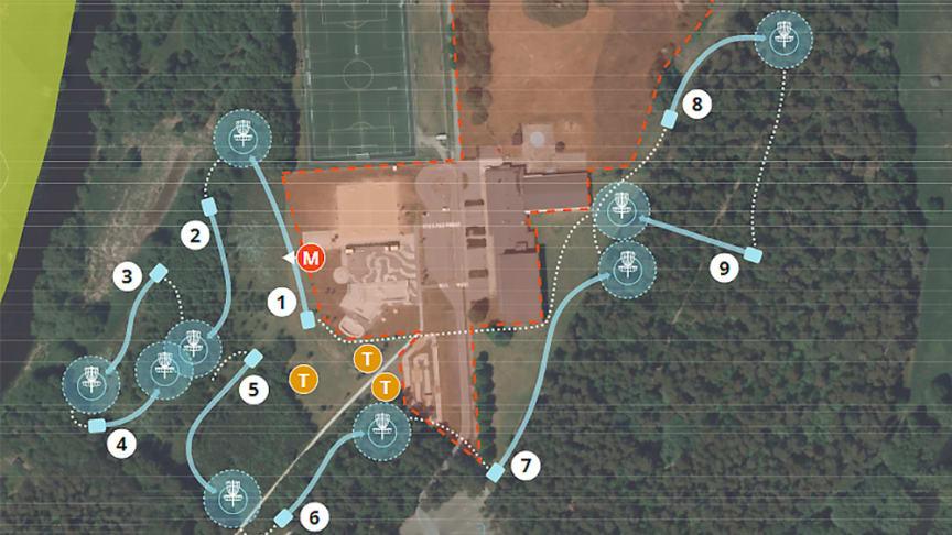 Discgolfbanan kommer att löpa runt K.A.P och karta samt enklare instruktioner finns på plats för nyfikna.