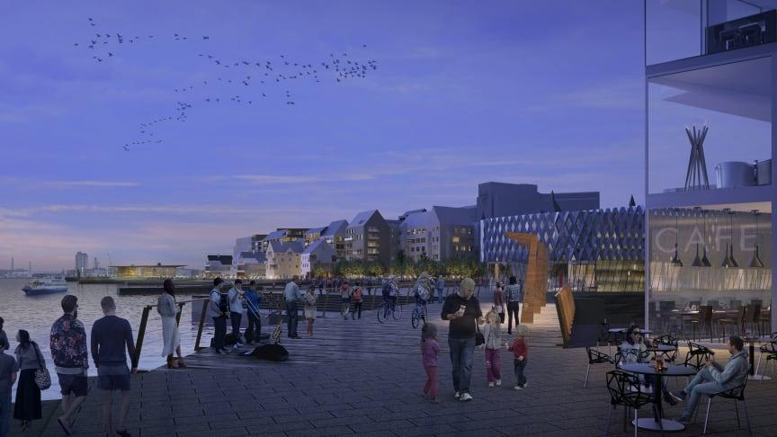 Visionsbild Skeppsbron, Göteborg. Foto: Kanozi Arkitekter
