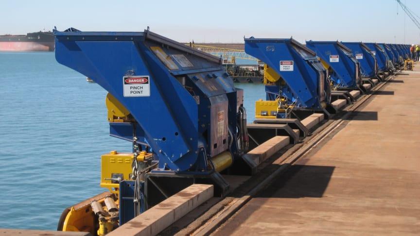 MoorMaster™ automated mooring units at Utah Point berth Port Hedland, Western Australia.