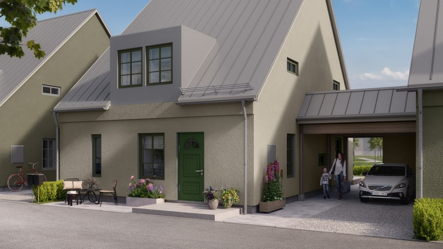 I Kv Stockrosen bygger OBOS sju kedjehus.