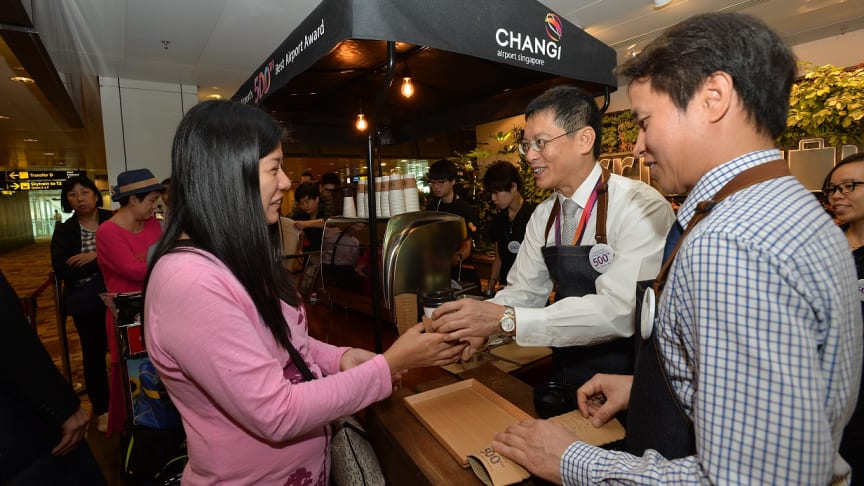 Changi Airport celebrates its 500th Best Airport award with free cuppas