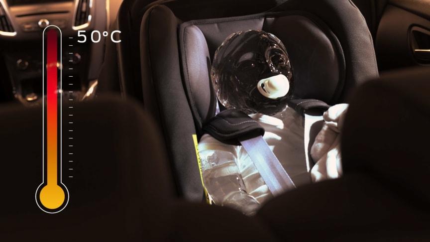 Det tager ikke mange minutter før temperaturen bliver tårnhøj i en bil.