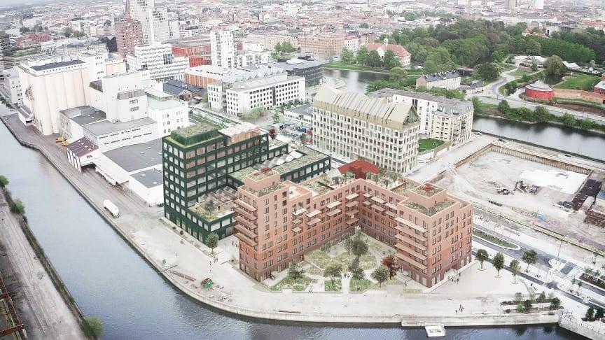 Kvarteret Triton i Malmö där GlasLindberg kommer stå för glas- och metallpartientreprenaden