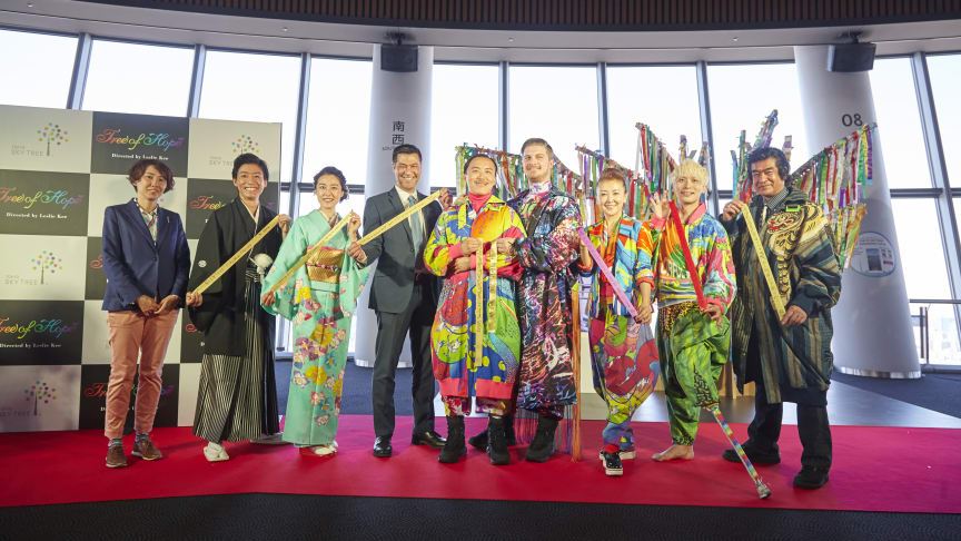 W1SH RIBBON DISCOVER & CONNECT THE WORLD press conference photo (From left to right: Manami Kosugi, Sho Ikushima, Natsuki Kunimoto, Michael Turner, Leslie Kee, Joshua Ogg, Azuma Chizuru, Kouichi Ohmae, Hiroshi Fujioka)