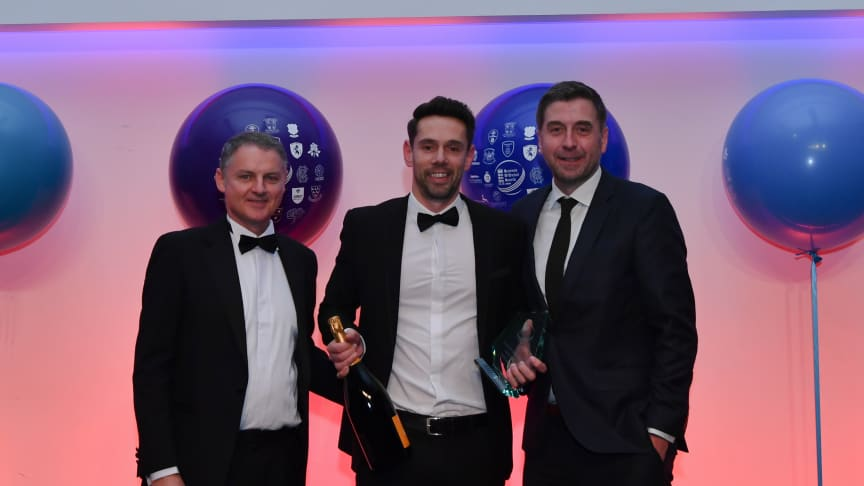 David Jackson received the Rising Star Award from ECB Chief Operating Officer Gordon Hollins and host Mark Chapman