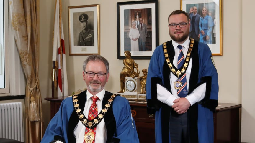 Pictured is the newly elected Mayor of Mid and East Antrim Borough Council, Councillor William McCaughey and Deputy Mayor, Councillor Matthew Armstrong.
