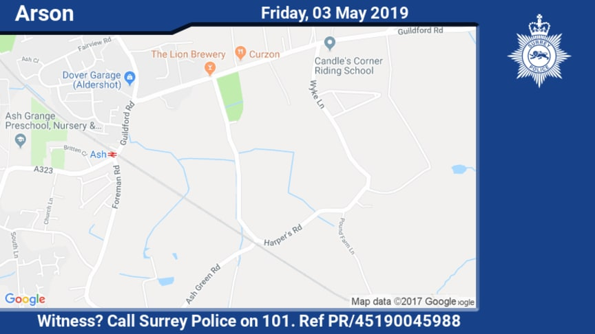 Witness appeal following suspected arson in Ash