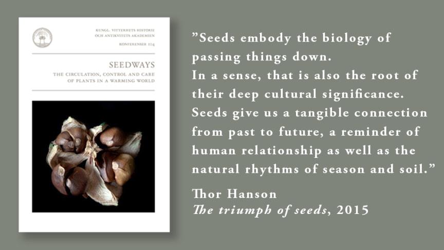 """I en allt varmare värld har fröer blivit en global angelägenhet. Den nya boken """"Seedways. The circulation, control and care of plants in a warming world"""" handlar om det ömsesidiga beroendet mellan människan och fröer."""