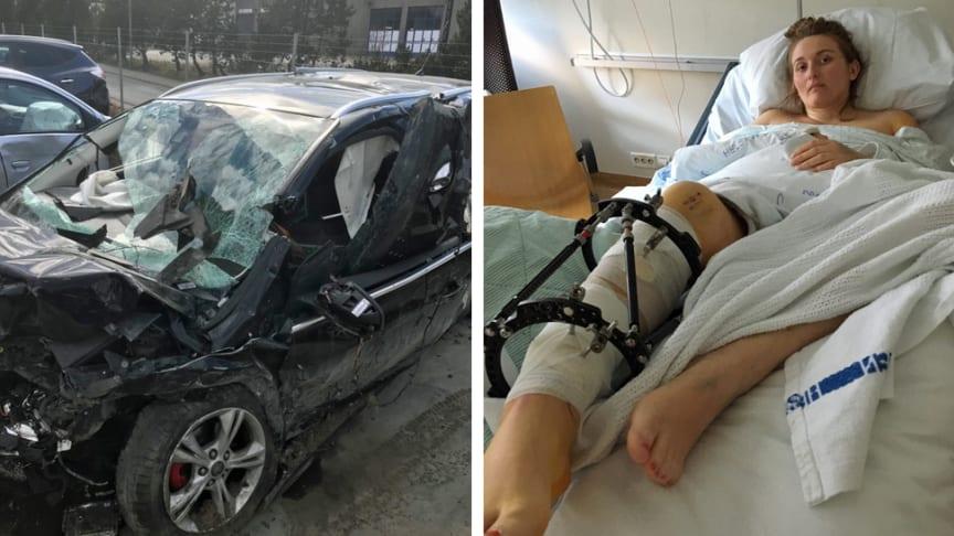 VOLDSOMT: Her ligger Leila Moen på sykehuset etter den kraftige frontkollisjonen. Hennes Ford Focus var totalskadd etter ulykken.