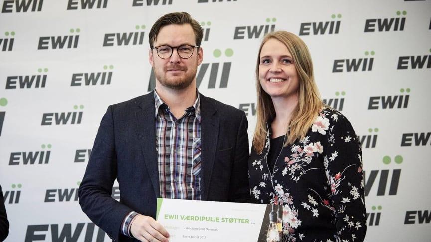 Mikkel von Seelen og Pernille Holmskov fra Trekantområdet Danmark modtog i denne uge 425.000 kroner fra EWIIs værdipulje til et nyt udviklingsprogram for idræts- og kulturentreprenører i Trekantområdet.