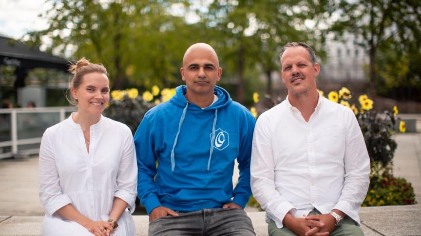 F.v: Camilla Ferstad (prosjektleder), Abtin Rahmanian (daglig leder i Optus Digitalbyrå) og Morten Samson Onarheim (daglig leder i Optus Asker og Bærum).