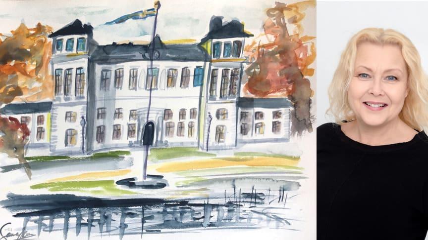 Rånäs Slott målat av Sanna Ekman - årets utställningscurator!