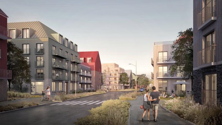 Visionsbild för projektet Hallunda Gård i Botkyrka