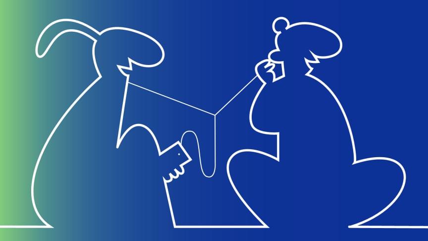De flesta elever i den studerade klassen iscensätter sin vänskap, till exempel genom att dela på hörlurar från en mobiltelefon. Illustration: Sandra Parment.