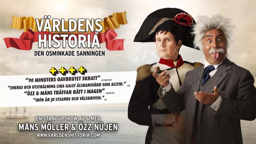 """TURNÈPREMIÄR ikväll för """"Världens Historia - den osminkade sanningen"""" med Özz Nûjen & Måns Möller på  Växjö Konserthus"""