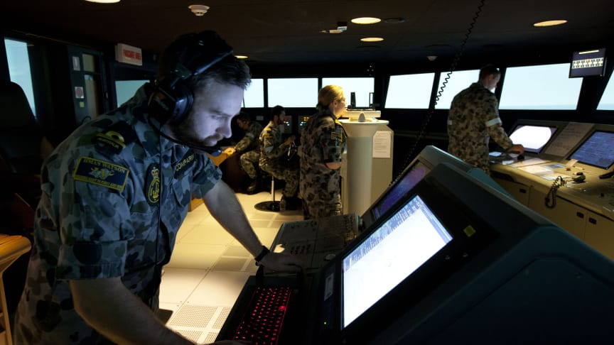 The new Kongsberg Digital simulators will be used for the on-going training of RAN Officers and sailors undertaking all levels of shiphandling, navigation, warfare, and bridge management courses. ©Commonwealth of Australia