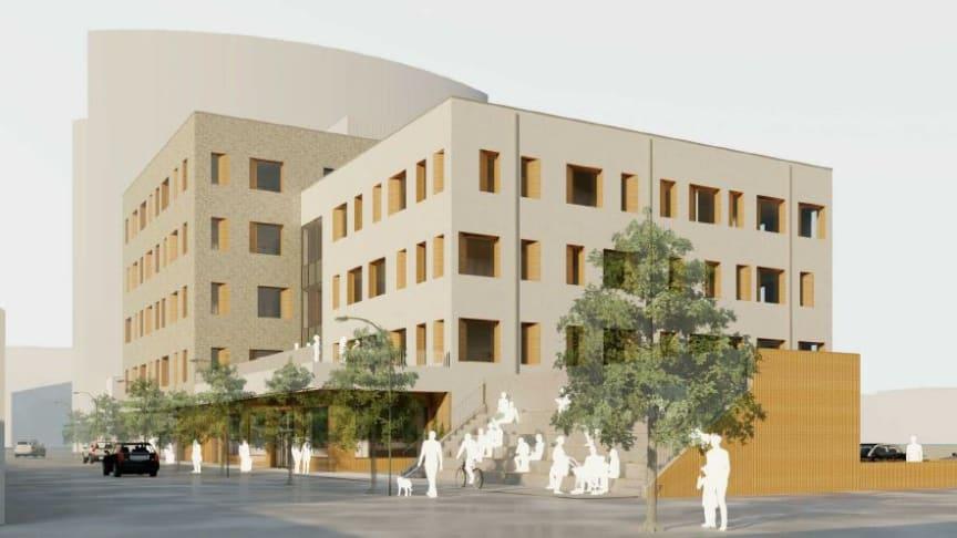 Entréplanet i socialtjänstens hus ska erbjuda publika funktioner med mottagande av besökare och även ha plats för handelslokal och ett café. 3D-Illustration: Hemfosa Fastigheter.