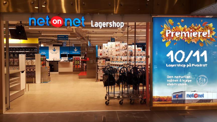 Entré till NetOnNets första Lagershop i Norge - belägen i köpcentret Kvadrat, Sandnes