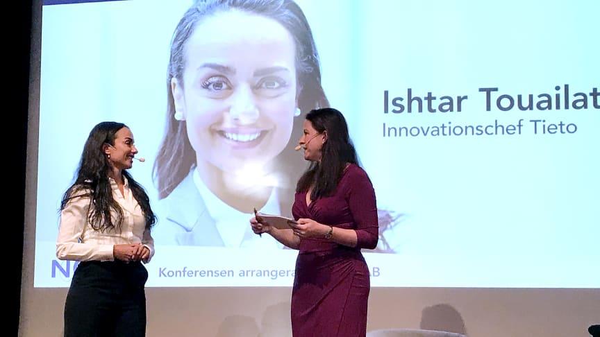 Ishtar Touailat, innovationschef – Head of Innovation Incubation på Tieto Data-Driven Business medverkade under Nolia Ledarskap. Här med moderatorn Helena Karlberg.