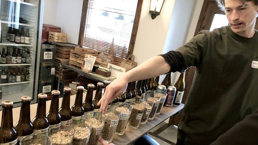 Johan Zethraeus från Brewmaster i Hovmantorp testar malt med de skånska bryggarna.
