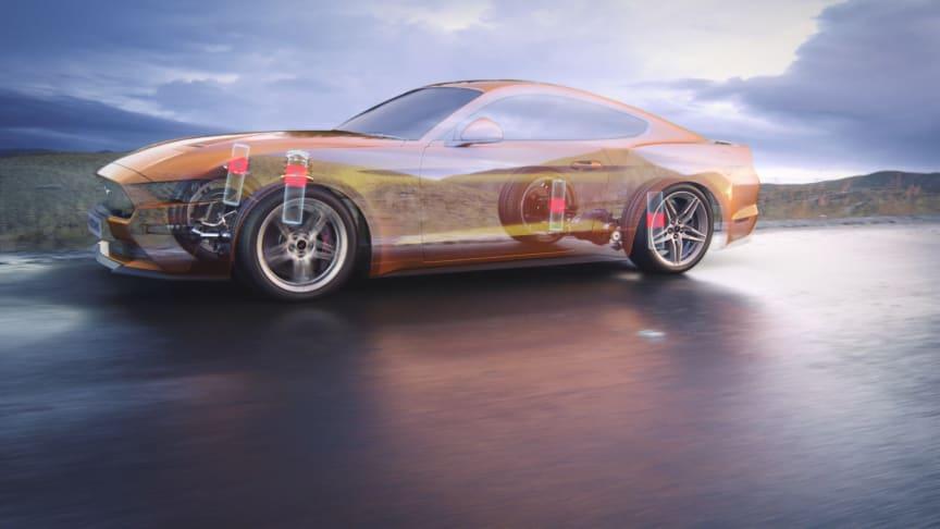 Nya Ford Mustang har försetts med MagneRide, en teknik med magnetisk vätska i stötdämparna.