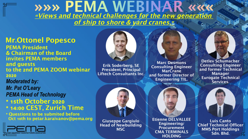 The centrepiece of the 90-minute webinar will be presentations delivered by five keynote speakers which will be moderated by Pat O'Leary, PEMA Head of Technology.