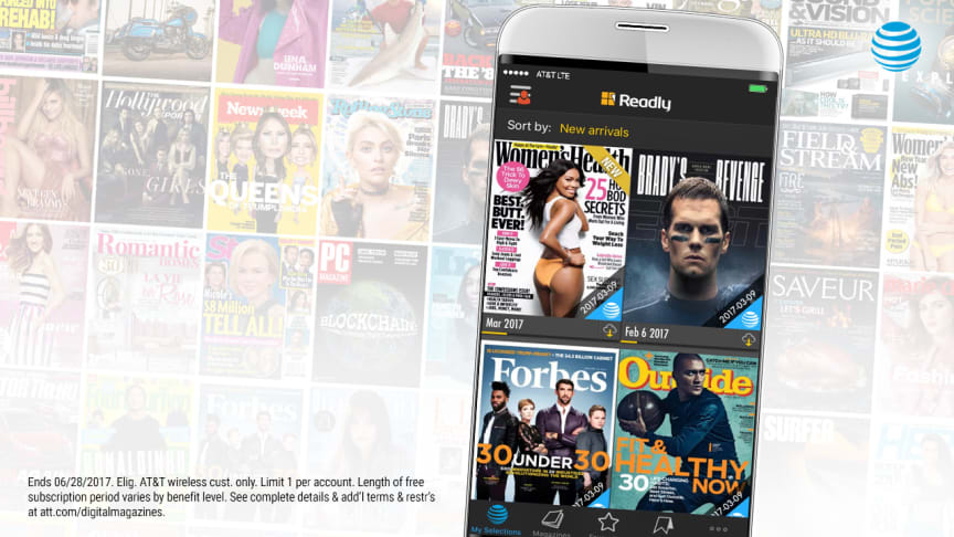 Eligible AT&T wireless customers now have access to over a thousand magazines to share with others on the account on up to five personal devices for a limited time compliments of AT&T THANKS®.