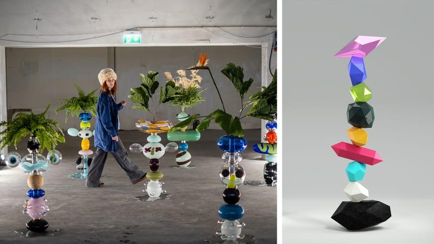"""Vänster: Frida Fjellman bland glasskulpturer. Foto: Daniel Camerini. Höger: Skiss på skulptur """"I balans"""" för Ersta nya sjukhus."""