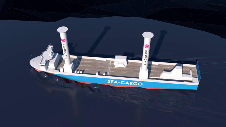 Med sine 35 meter høye rotorseil blir SC Connector Norges høyeste seilskip (Ill.: Enova/Gyro).