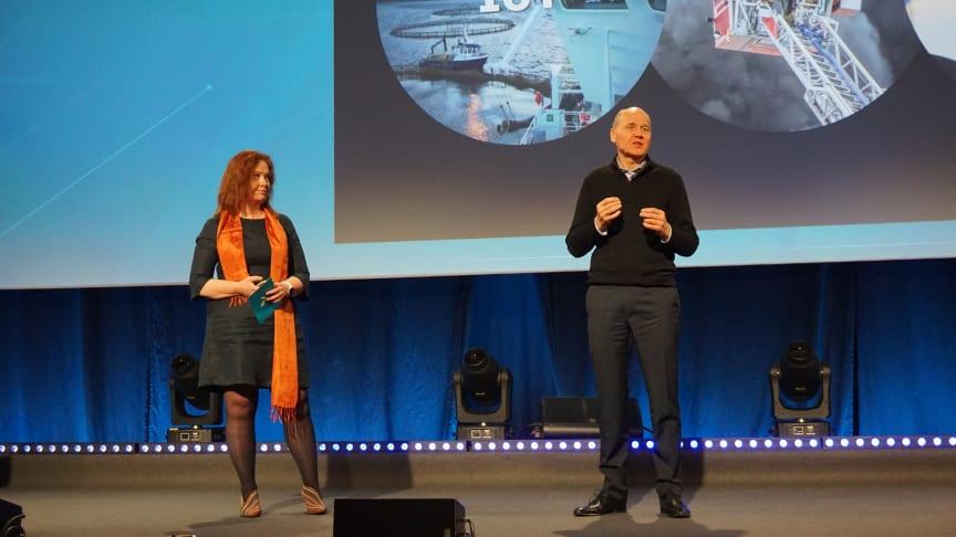 Sigve Brekke, President & CEO of Telenor Group and Ingeborg Øftshus, CTO og Telenor Norway during the 5G presentation in Trondheim.