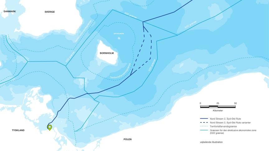 Illustration: Nord Stream 2 Syd-Øst rute med varianter