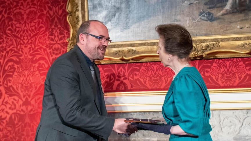 John Booth, Recruitment and Training Manager at Go North East, presented with the Princess Royal Training Award by HRH Princess Anne