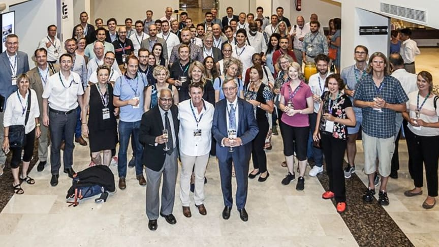 Northumbria academic Dr Ruth Crabtree (centre front) receiving the EASM Distinguished Service Award at this year's European Association for Sport Management Conference