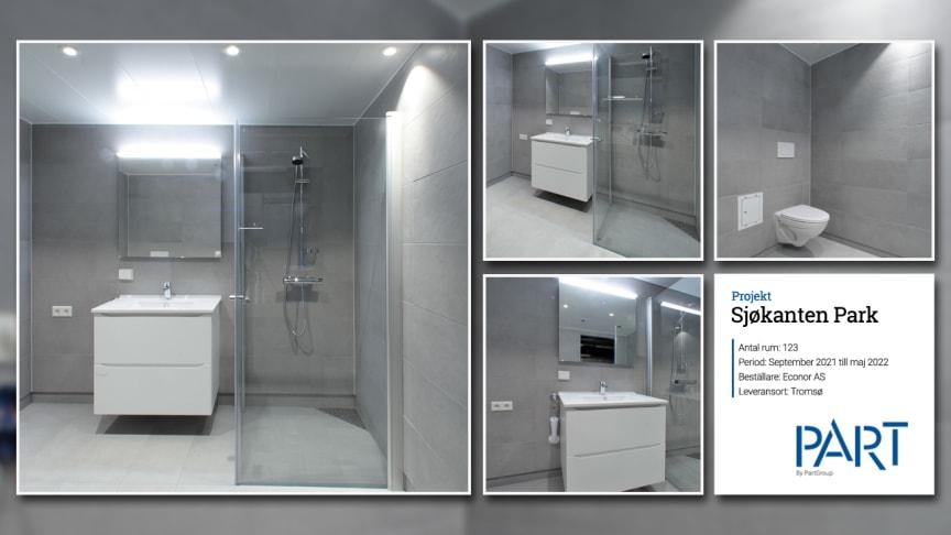 Part levererar 123 badrum till projektet Sjøkanten Park i Tromsø, Norge.