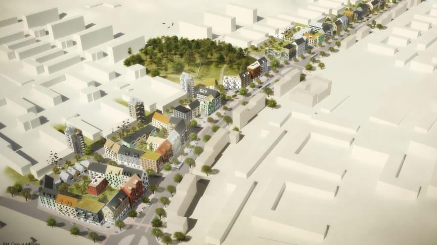 Skissbild Litteraturgatan: Okidoki Arkitekter