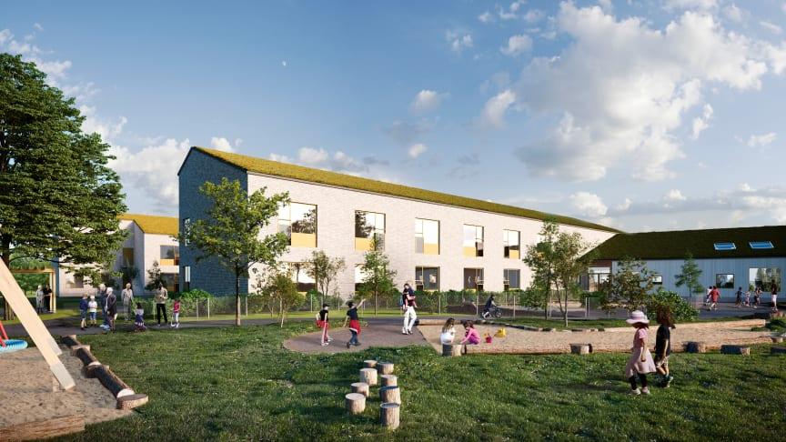 Illustration av det planerade äldreboendet och förskolan i Mönsterås kommun
