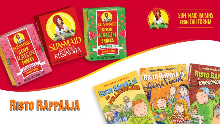 Sun-Maid -rusinat ja Risto Räppääjä kannustavat yhdessä lapsia ja nuoria lukemaan