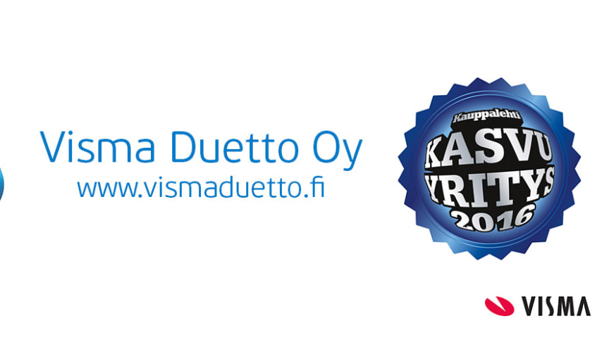Visma Duetto Oy on vuoden 2016 Kasvu- ja Menestyjäyritys