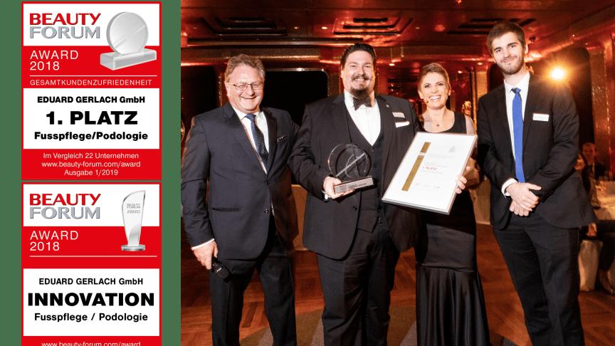 Im Rahmen einer feierlichen Gala nahm der Geschäftsführer Timor Gerlach-v. Waldthausen (2. v. l.) den Preis am 8. November 2018 im Casino Baden Baden entgegen. Bild: © Pauline Fabry