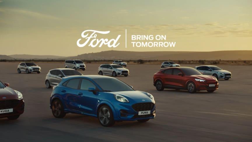 Nu presenterar Ford sin nya varumärkesinriktning, Bring on Tomorrow, som bland annat står för företagets progressiva anda och engagemang för elektrifiering.
