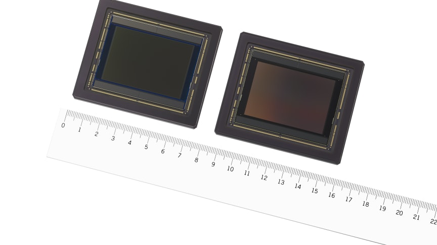 """Sony's large format CMOS image sensor """"IMX661"""" with industry's highest effective pixel count of 127.68 megapixels. Left: colour model, right: black and white model."""