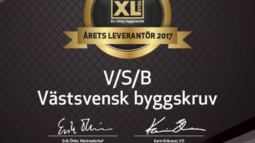 Årets XL-BYGG leverantör 2017 är V/S/B Västsvensk byggskruv!