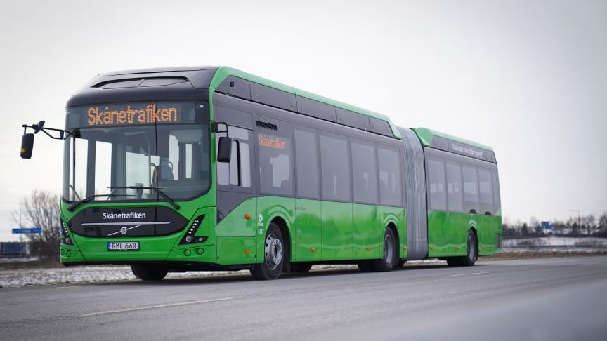 Bild på en av de nya elbussar som snart börjar att rulla i Malmö.