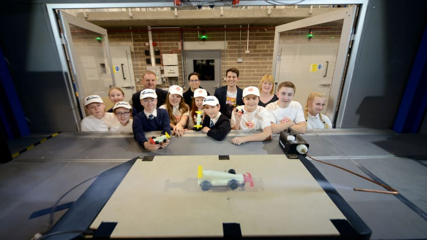 Pupils and staff from Valley Gardens Middle School pictured with academics from Northumbria's department of Mechanical and Construction Engineering
