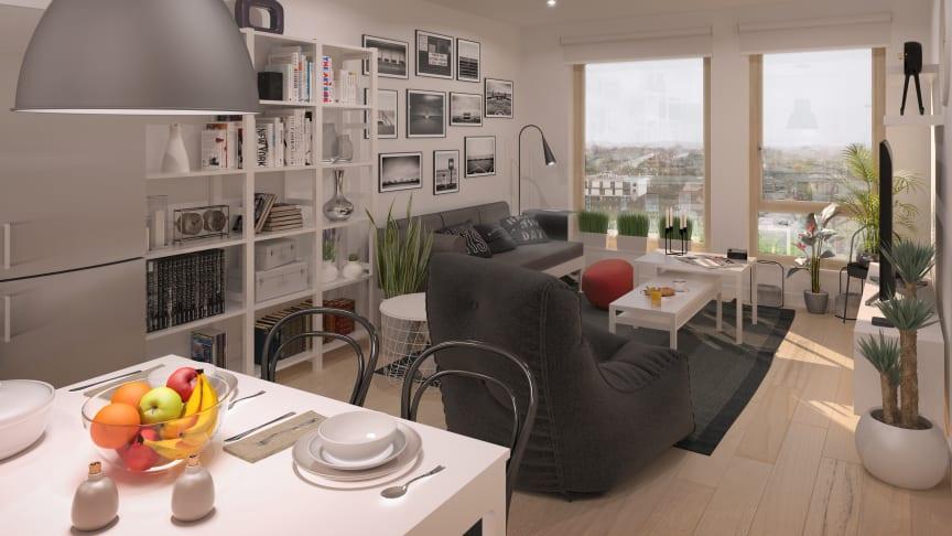 Illustration av interiör i de nya BoKlok-hemmen i England. Observera att bilden är en illustration och att ändringar kan förekomma i slutgiltigt utförande.