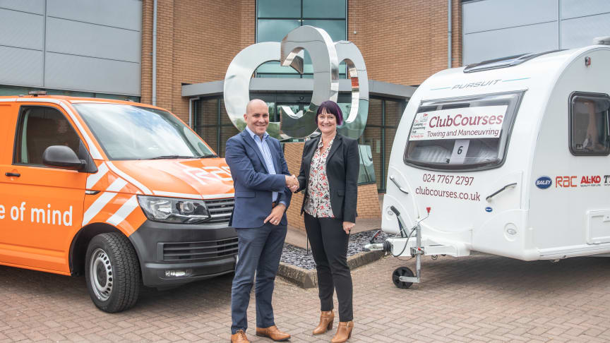 Phil Ryan, RAC business roadside managing director, with Sabina Voysey, director general at the Camping and Caravanning Club