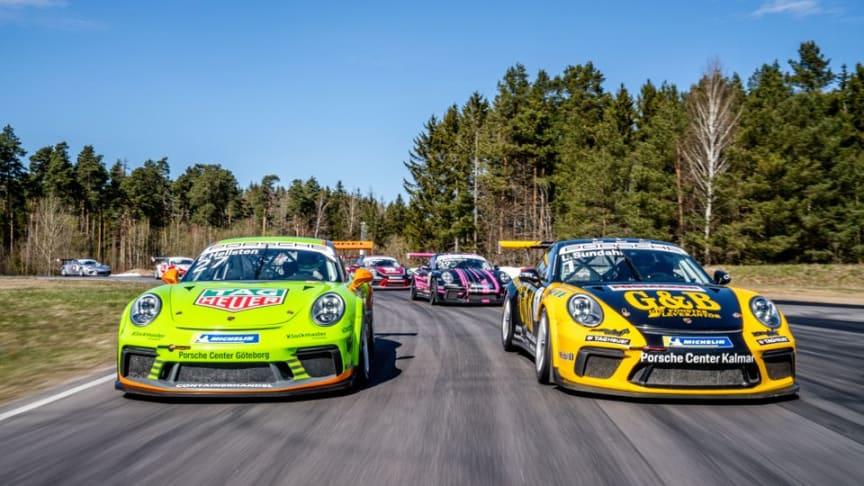 Vem blir mästare i årets Porsche Carrera Cup Scandinavia? Jakten på segrarna börjar på Ring Knutstorp 7-8 maj.
